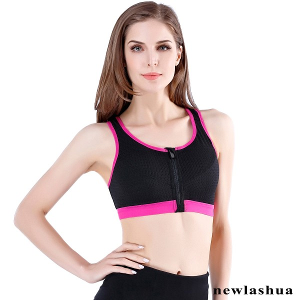 Supportive Zipper Front Closure Sports Bra- Padded Zip Up Sports Bra